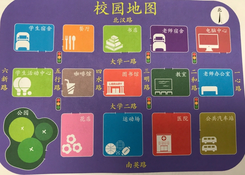 Campus map from Integrated Chinese p 93