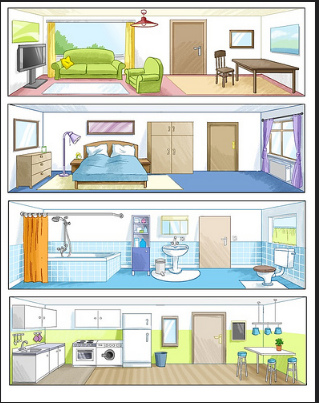 Rooms with furnitures